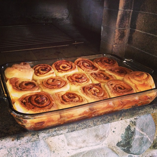 Cinnamon Buns for breakfast from our brick oven  Oven